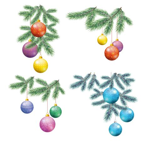 Set Christmas Holiday Decorations, Fir Branches and Colorful Glass Balls with Floral Patterns and Snowflakes. Illusztráció
