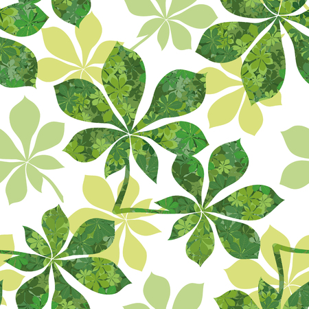 Seamless Background, Chestnut Green Leaves with Pattern of Leaves and Silhouettes. Vector Illustration