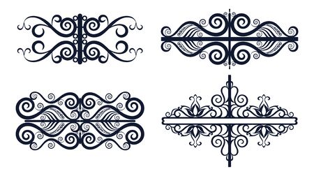 Set Abstract Vintage Patterns, Black Contours Isolated on White Background. Vector Reklamní fotografie - 133571424