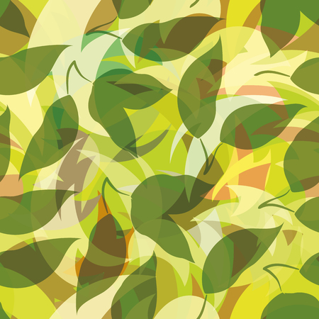 Seamless Background, Green Leaves Silhouettes on Abstract Tile Pattern. Vector Illustration