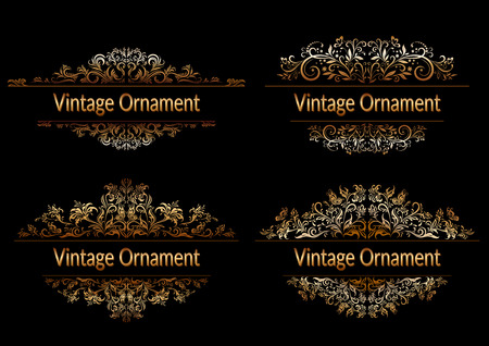 Decorative Golden Frame with Vintage Ornament, Floral Pattern, Flowers and Butterflies Silhouettes on Black Background. Vector