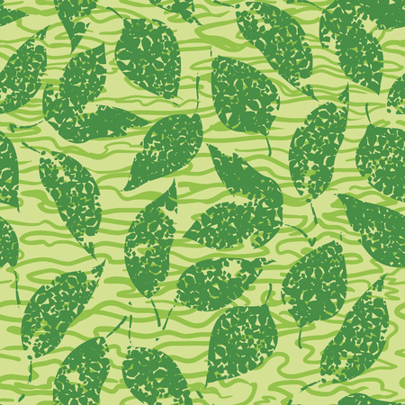 Seamless Background with Green Leaves on Abstract Tile Pattern. Vector Illustration