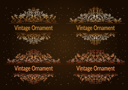 Set Decorative Golden Frames with Floral Pattern, Flowers and Butterflies Silhouettes on Night Starry Sky Background. Vector