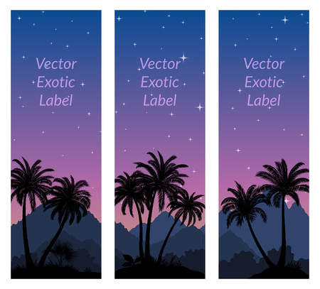 Labels with Tropical Landscape, Palms Trees and Exotic Plants Black Silhouettes on Background with Night Starry Sky. Vector