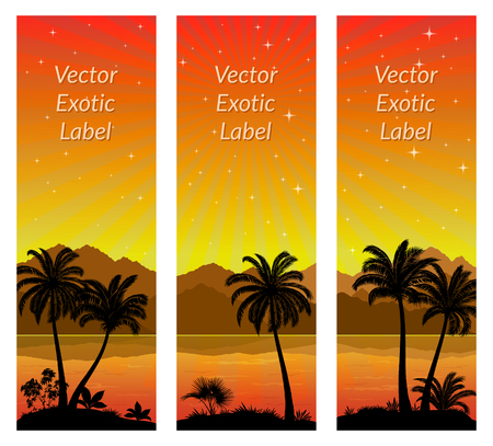Labels with Tropical Landscape, Palms Trees and Exotic Plants Black Silhouettes on Background with Morning Sea, Mountains and Birds Gulls. Vector