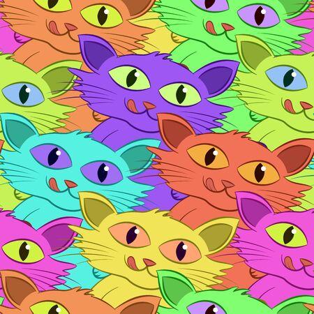 Funny Cartoon Colorful Cats Illusztráció