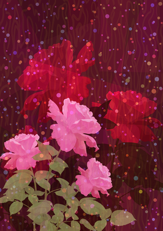 Red and Pink Rose Flowers, Holiday Background. Vector