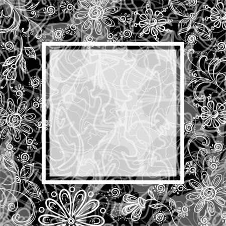 Background with Outline Floral Pattern and Square Frame, Black, White and Grey