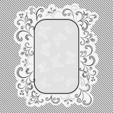Background with Outline Floral Pattern and Frame with Contour Butterfly, Black, White and Grey