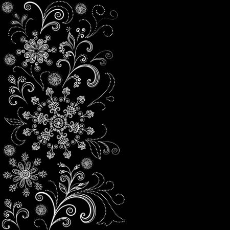 Background with Outline Floral Pattern, Black and White