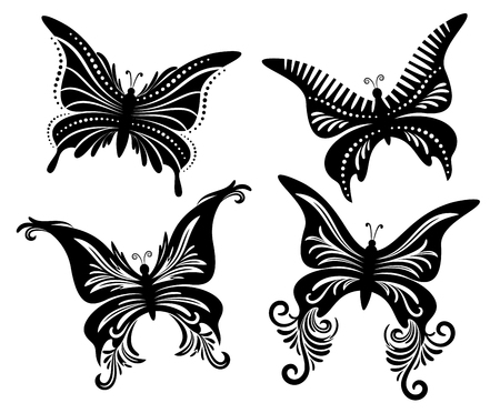 Set Butterflies Monochrome  Isolated on White