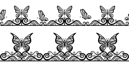 Horizontal Seamless Patterns with Butterflies Black Contours on Tile White Background. Vector Illustration
