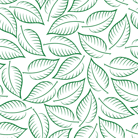Seamless Pattern, Leaves Green Contours on Tile White Background, Vector