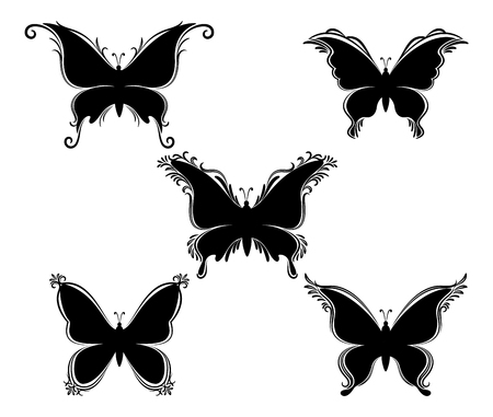 Set Butterflies Monochrome Black Pictograms Isolated on White Background. Vector Illustration