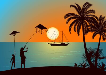 Summer Landscape, Silhouettes People, Young Women And Girl With Sky Kite On The Tropical Beach With Palm Trees, Sun In The Sky And Ship At Sea. Vector
