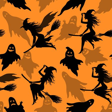 Seamless Halloween Pattern, Character Witch on a Broomstick and Flight Cartoon Ghosts, Black Silhouettes, Tile Holiday Background. Vector Illustration
