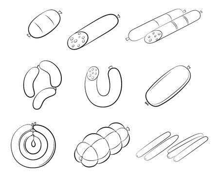 Set of Food Pictograms, Sausages, Meat and Chicken Rolls. Black Contours Isolated on White Background. Vector