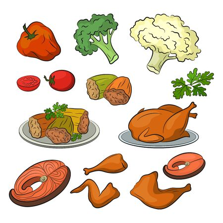 Set of Food Objects, Finished and Ingredients, Fried Chicken, Vegetables, Stuffed Peppers, Greens, Fish and More, Isolated on White Background. Vector