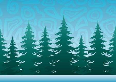 Seamless Horizontal Christmas Holiday Background, Winter Landscape, Fir Trees, Green Silhouettes against the Blue Sky with Abstract Pattern. Vector Illustration