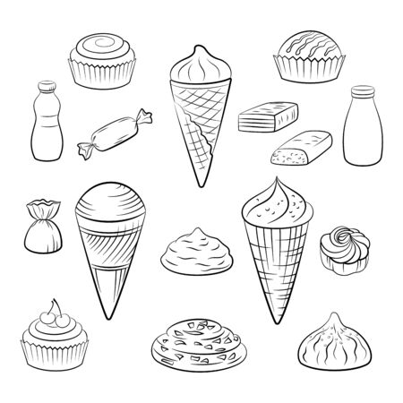 Set of Sweet Food Pictograms, Ice Cream in Waffle Cups, Cake, Pastries, Juice and Milk. Black Contours Isolated on White Background. Vector