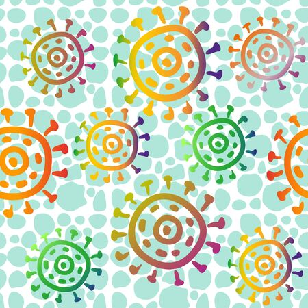 Seamless Pattern with Symbolical Suns Rings on Abstract Tile Green and White Background. Vector