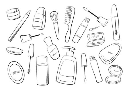 Set of Cosmetic Accessories, Soap, Comb, Brushes, Mascara, Eyeshadow and Others Black Contours Isolated on White Background. Vector Ilustração