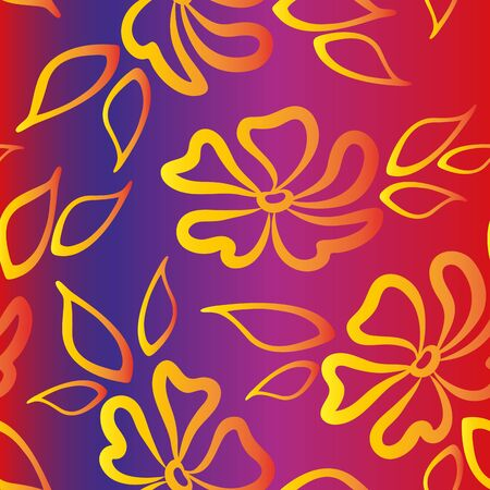 Seamless Pattern with Golden Yellow Symbolical Flowers and Leaves on Tile Background. Vector Векторная Иллюстрация