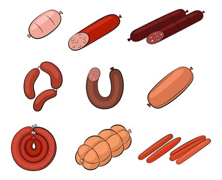 Set of Food, Sausages, Meat and Chicken Rolls Isolated on White Background. Vector