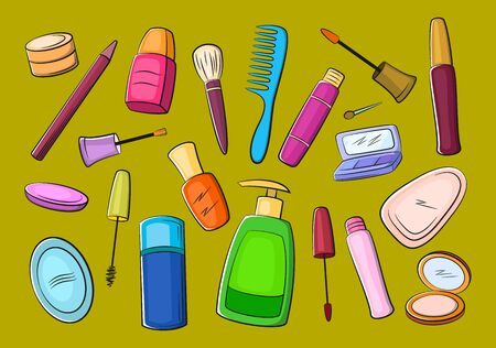 Set of Cosmetic Accessories, Soap, Comb, Brushes, Mascara, Eyeshadow and Others. Vector