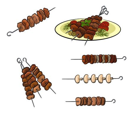 Set of Roasted Meat, Mushroom or Vegetables, Traditional Food Barbecue, Steaks, Kebab or Shashlik. Isolated on White Background. Vector Illustration
