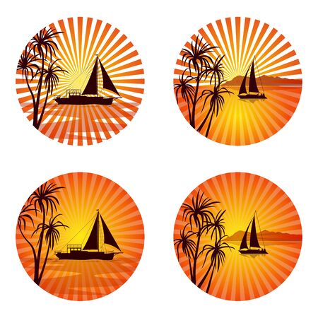 Icons, Logo or Labels, Tropical Landscape with Ships and Exotic Palms Trees Silhouettes on Circle Background with Orange and Yellow Sun Beams. Vector