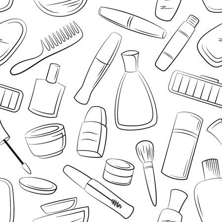 Seamless Pattern Cosmetic Accessories, Toiletry, Perfume, Lipstick, Shampoo and Others Black Contours Isolated on White Background. Vector