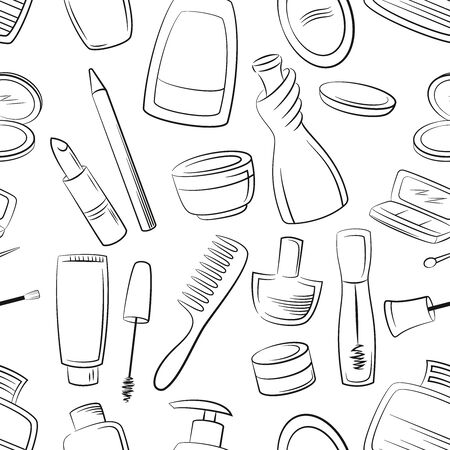 Seamless Pattern Cosmetic Accessories, Toiletry, Perfume, Lipstick, Shampoo and Others Black Contours Isolated on White Background.