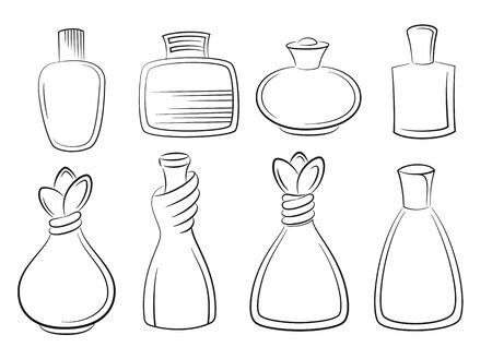 Set of Perfume, Cologne and Eau de Toilette Bottles Black Contours Isolated on White Background. Vector