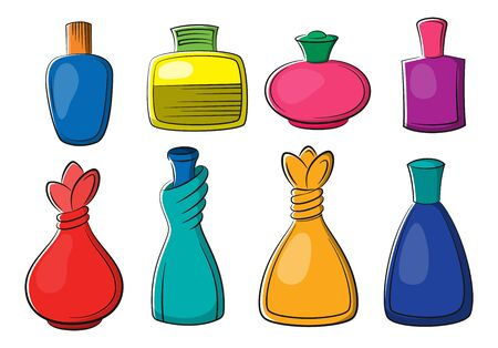 Set of Perfume, Cologne and Eau de Toilette Colorful Bottles Isolated on White Background. Vector
