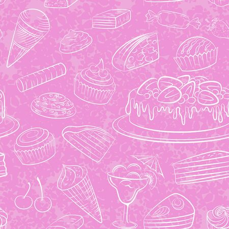 Seamless Food, Sweets White Contours on Pink Wallpaper