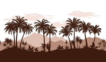 Exotic Horizontal Seamless Landscape, Palm Trees and Tropical Plants Silhouettes on the Background of Mountains and Clouds. Vector