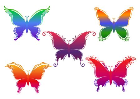 Set Of Colorful Silhouettes Isolated on White