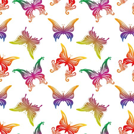 Seamless Pattern of Colorful Butterflies Isolated on White Illustration