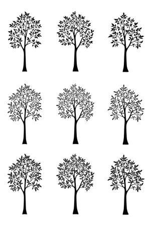 Set Symbolic Trees Outline Black Silhouettes Isolated on White Background