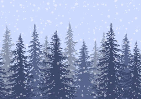 Seamless Horizontal Winter Landscape with Christmas Coniferous Trees and Snowflakes, Tile Holiday Background. Vector Illustration