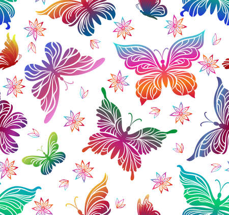 Seamless Pattern, Colorful Butterflies and Flowers Pictograms Isolated on Tile White Background. Vector. Illustration
