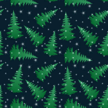 Seamless Pattern, Christmas Holiday Trees Green Silhouettes on Black Tile Background with Stars. Vector