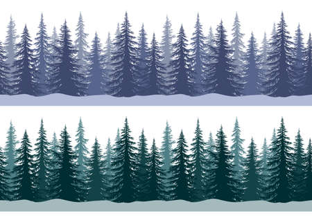 Seamless Horizontal Winter Landscapes with Christmas Coniferous Trees and Snowflakes, Tile Holiday Background. Vector
