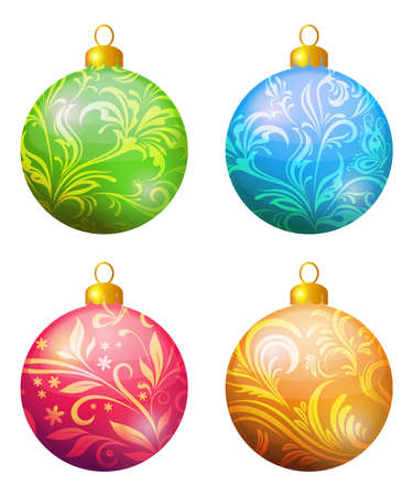 Christmas Holiday Decoration, Set Colorful Balls with Floral Pattern. Vector