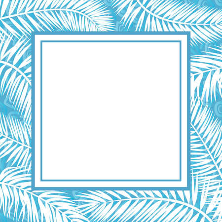 Blue and White Background for Christmas Holiday Design, Branches Silhouettes and Frame. Vector