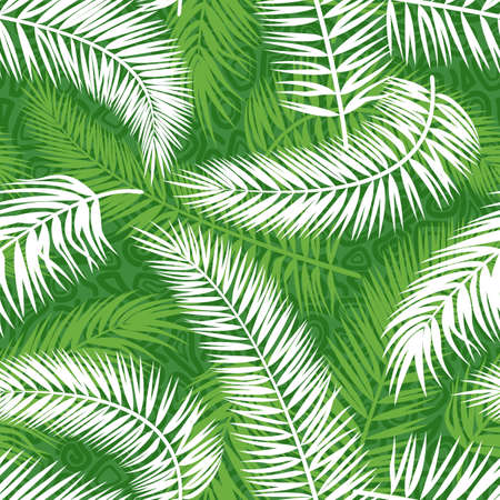 Seamless Background, Tropical Palm Trees Green and White Leaves, Tile Pattern. Vector
