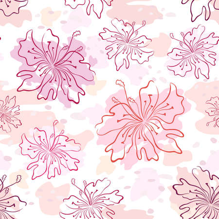 Seamless pattern of flowers contours