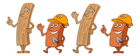 Cartoon Characters, Boards with Eyes and Hands and Workers with Construction Helmets and Trowels, Isolated on White Background. Vector