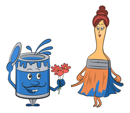 Cartoon Characters, a Can of Paint, a Man with a Mustache, Gives Flowers to a Paint Brush - a Woman. Vector